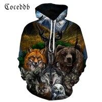 3D Animal Gedrukt Hoodies Mannen Vrouwen Sweatshirts Bear Wolf Uil Vos Trui Nieuwigheid Trainingspakken Fashion Casual Hooded Streetwear