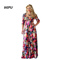 5XL 6XL Large Size2018 Autumn V Neck Dress Maxi Dress Robe Vintage Casual Women Flowers Printed