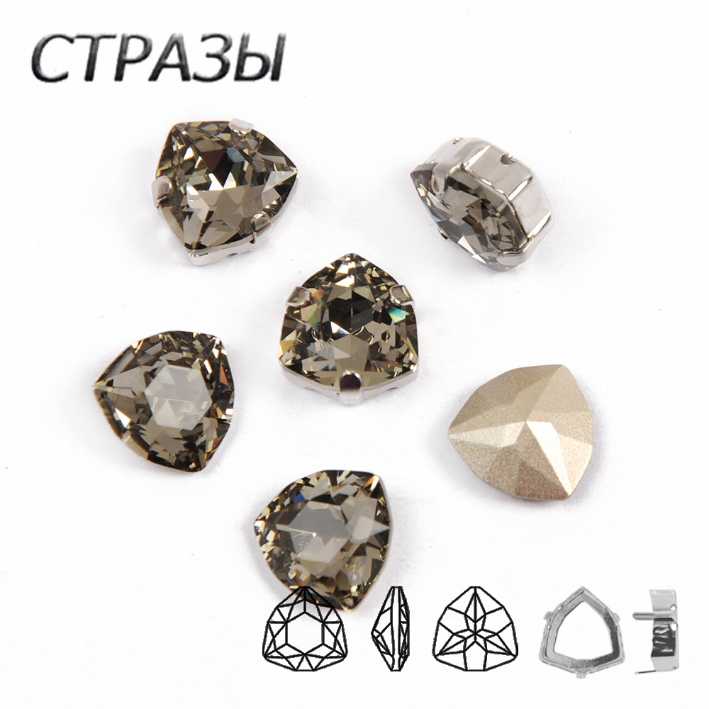 Black Diamond Fancy Stones Fat-Triangle Sewing Metal Base K9 Glass Rhinestones Crystal Point Back for Clothes Jewel Decoration