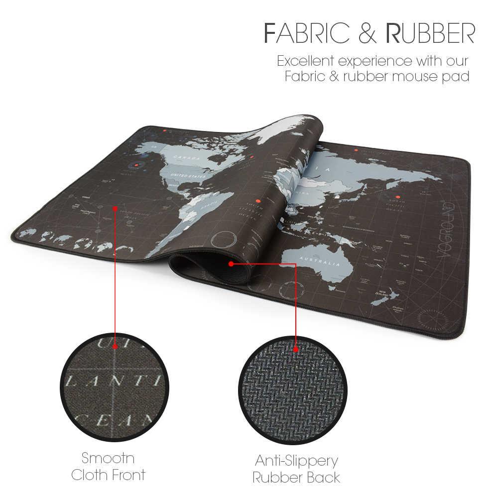 Nouveau monde carte vitesse verrouillage bord grand tapis de souris en caoutchouc naturel étanche jeu bureau tapis de souris clavier tapis pour Warcraft Dota LOL