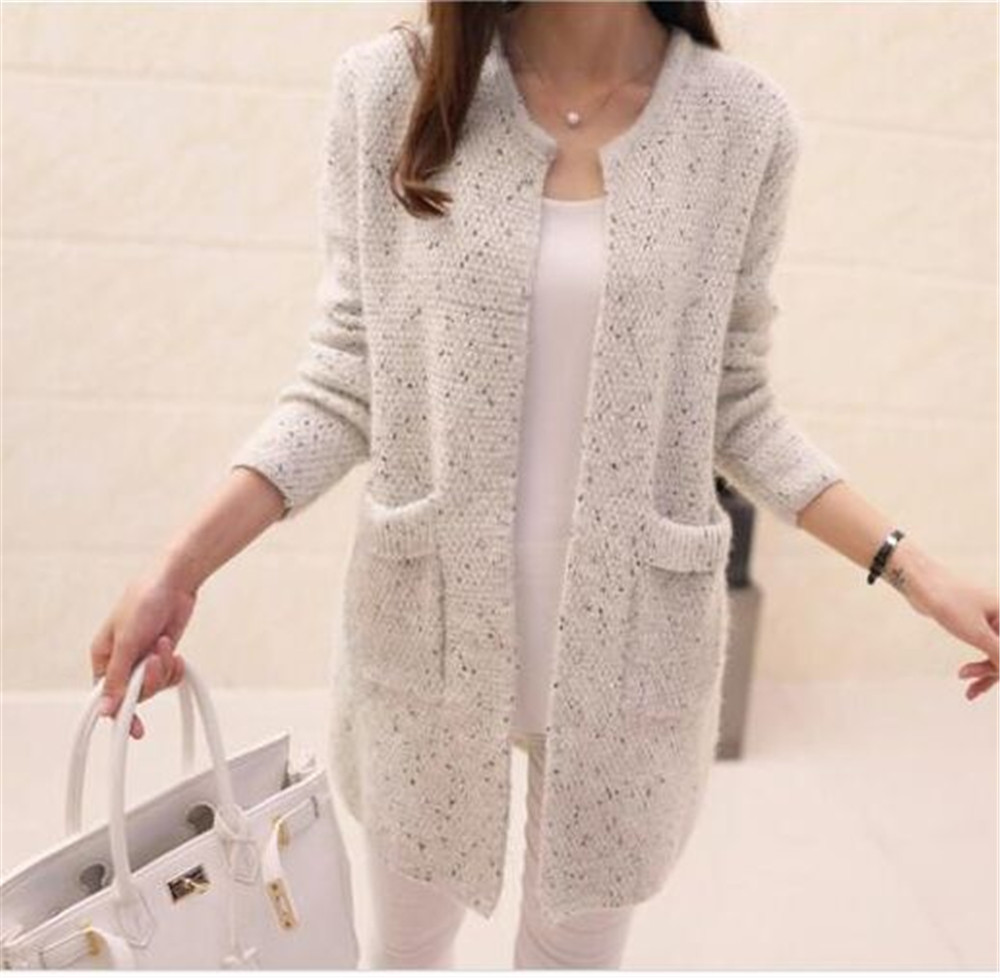 Sweater Coat Knitted Jacket Long Cardigan Crochet Long-Sleeve Women Spring Female Autumn