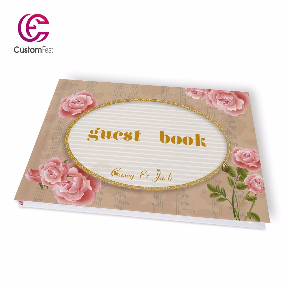 Free shipping Wedding pretty floral flower theme personalized Guestbook  GB021V