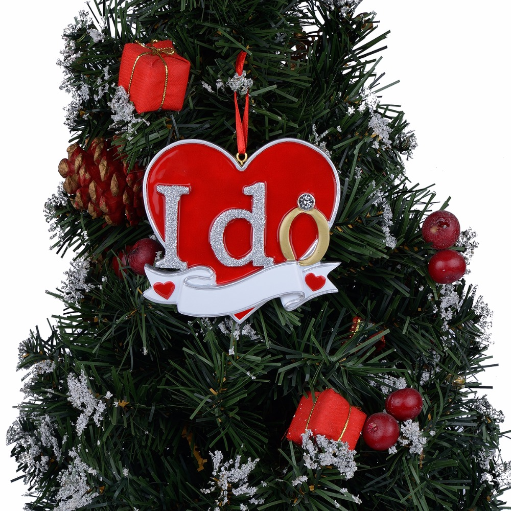 I DO Resin Painting and Handcraft Hanging Christmas Tree Ornaments Wedding Lover Personalized Gifts in Pendant Drop Ornaments from Home Garden