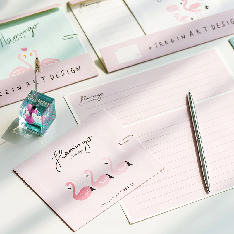 1 Set=6 Papers +3 Envelopes Cute Kawaii Flamingo Paper Letter Stationery Set Writing Greeting Birthday Message Elegant And Graceful