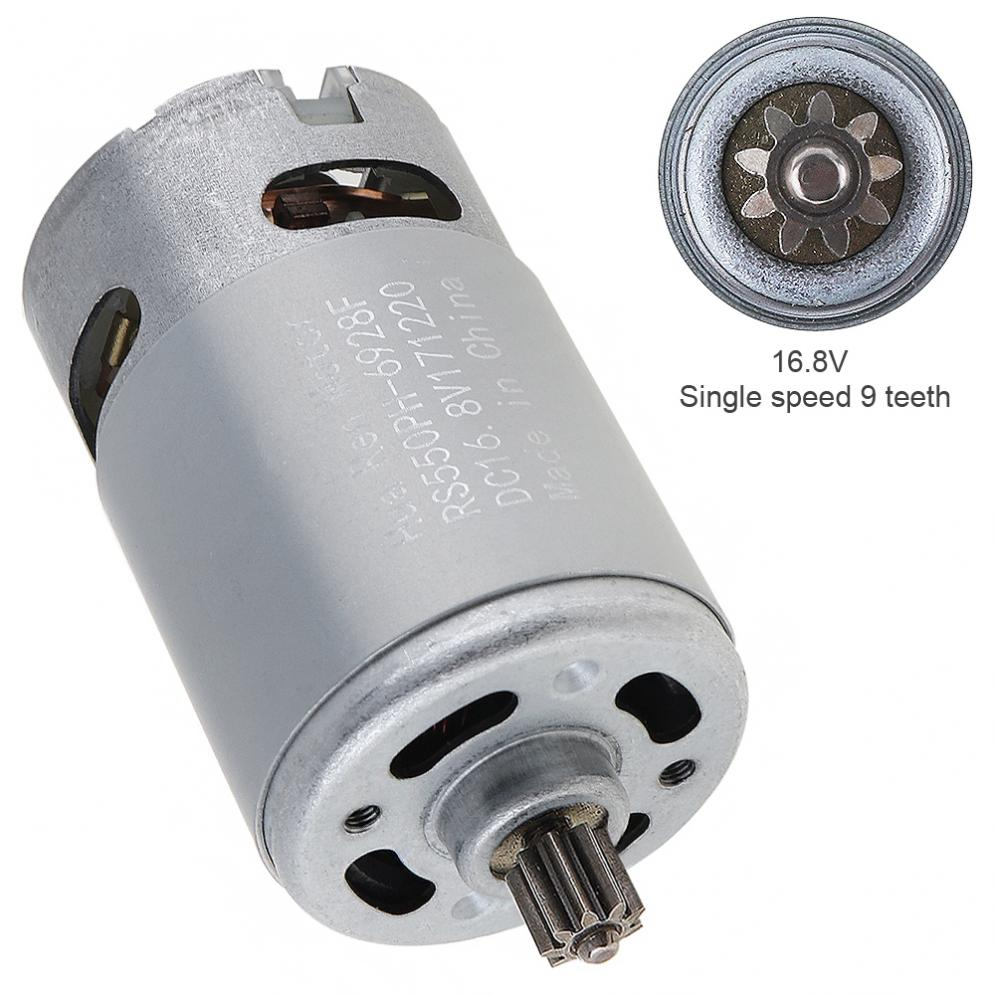 RS550 16.8V 13500 RPM Durable DC Motor with Single Speed 9 Teeth and High Torque Gear Box for Electric Drill / Screwdriver 1pc stable electric rs550 motor 6v 24v 10 teeth gear for cordless charge drill screwdriver