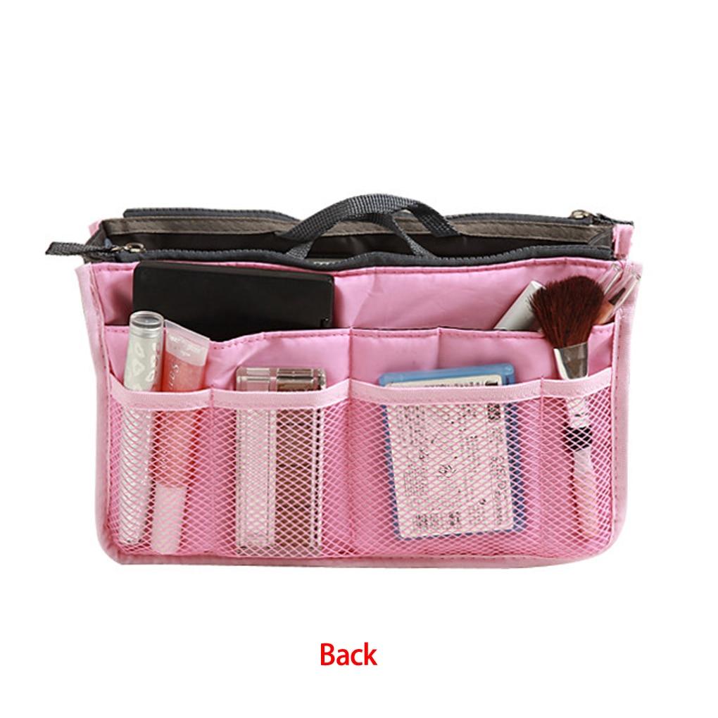 Tragbare Aufbewahrungstasche Frauen Doppel-Reißverschluss Organizer Geldbörse einfügen große Zwischenlage Tasche ordentlich Reisetasche 13 FARBE