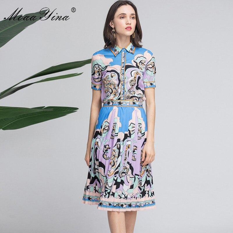 MoaaYina de diseñador de moda de las mujeres de verano de manga corta cordón impresión elegante Tops + falda de traje de dos piezas-in Conjuntos de mujer from Ropa de mujer    3