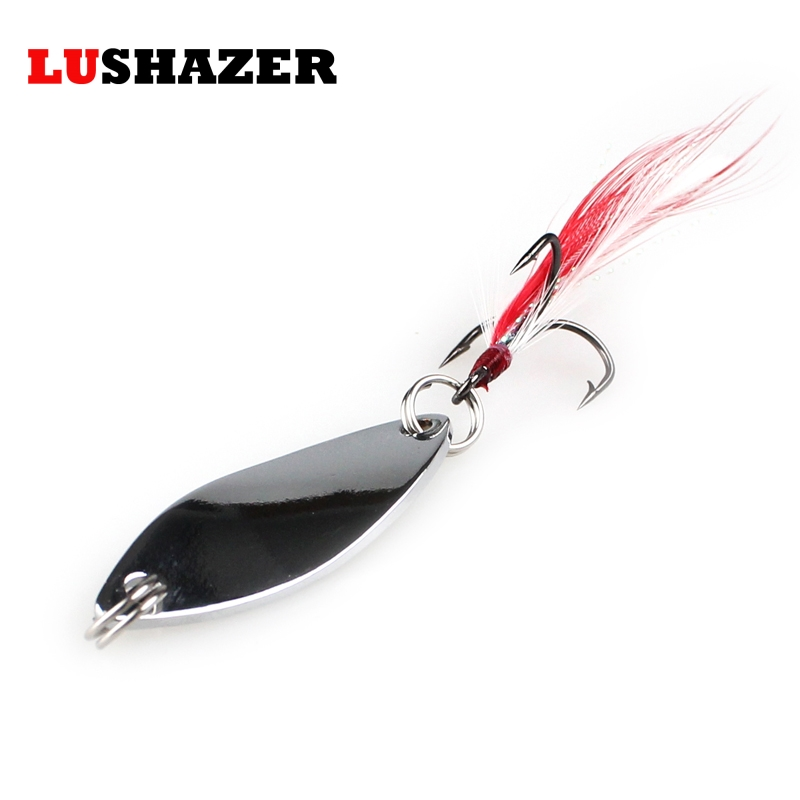LUSHAZER metal fishing lure spoon spinner bait 6g 10g gold/silver 360 degree rotation fishing tackle China Hard Bait spinnerbait lushazer dd spoon fishing lure 5g 10g 15g silver gold metal fishing bait spinnerbait treble hook hard lures china free shipping