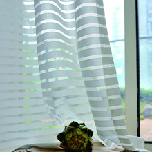 Sunny Solid Stripe Voile Window Sheer Curtains for Livingroom Bedroom GIGIZAZA Tulle Drape Stripe Process White Color cheap Translucidus (Shading Rate 1 -40 ) Buckle Tube Curtain Left and Right Biparting Open Polyester Cotton embroidery sheers
