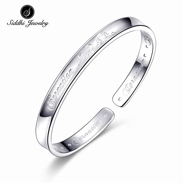 Original Siddhi Fine 999 Sterling Silver Bangle Carnations Flower Blossoming Love Jewelry Female Cuff Opening Bracelet for Women