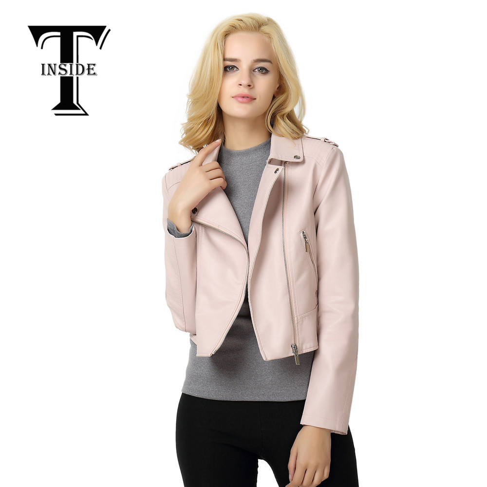 T-INSIDE 2016 New Fashion Autumn Winter Women Brand Faux Soft Leather Jackets Pu Black Pink Zippers Long Sleeve Motorcycle Coat