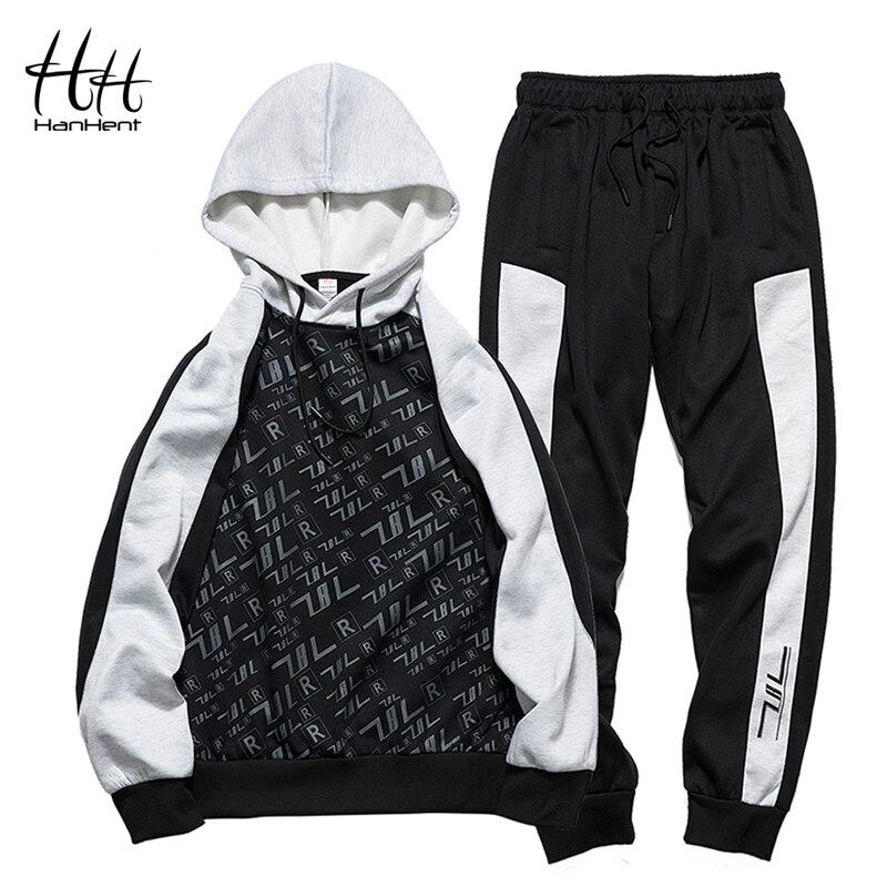 HanHent 2018 Мода Для мужчин комплект спортивной одежды из двух частей с капюшоном брюки шнурок повседневные толстовки устанавливает новый Для м...