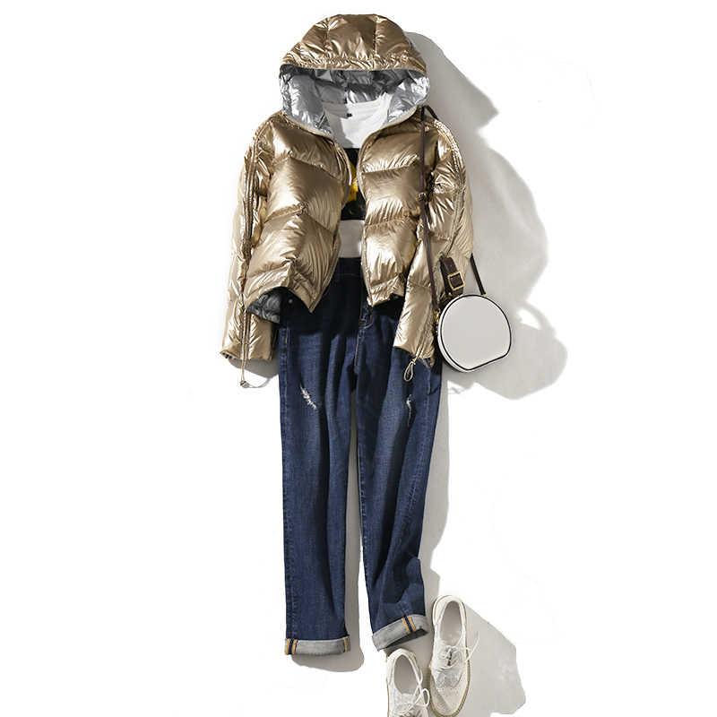 FTLZZ 女性両面銀ダウンパーカーコート冬の女性付きホワイトダックダウンジャケット防水雪の上着