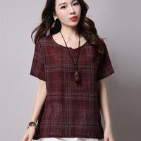 Plus Size 2017 Summer Style Women Blouses Casual Loose Cotton Linen Blouse Half Sleeve Shirts Women