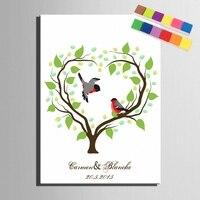 Diy Fingerprint Love Heart Tree Signature Canvas Painting Couple Birds Wedding Gift Decoration Guest Book Baby Shower Plant