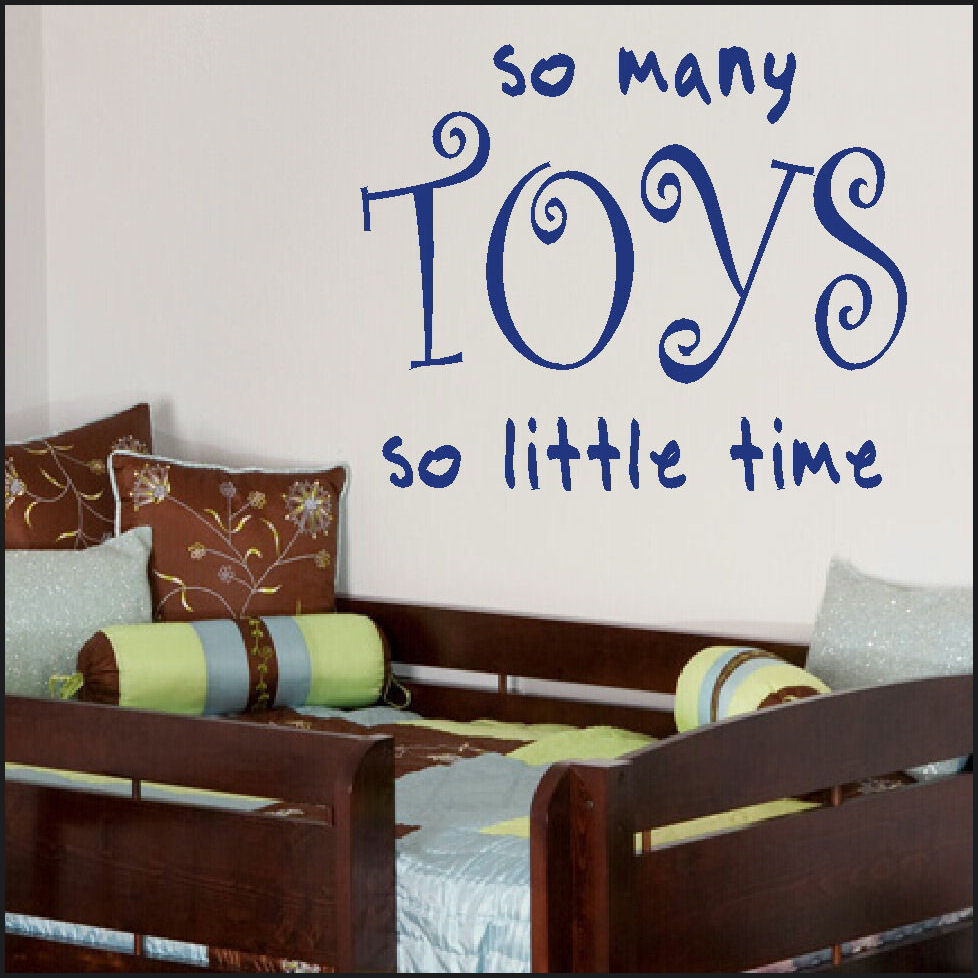 Large Wall Sticker Quote So Many Toys Little Time Toy Box New Home Decor Mural Decal