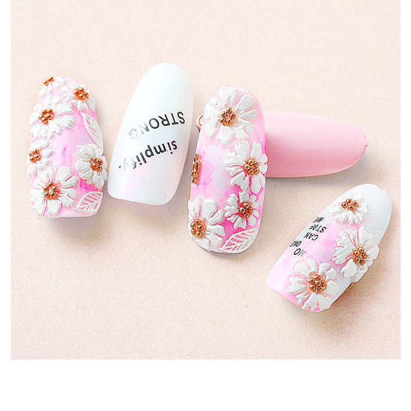 5D Acrylic Engraved nail art sticker white  Various shapes  flowers Template Decals Tool DIY Nail Decoration Tools Z0134-in Stickers & Decals from Beauty & Health