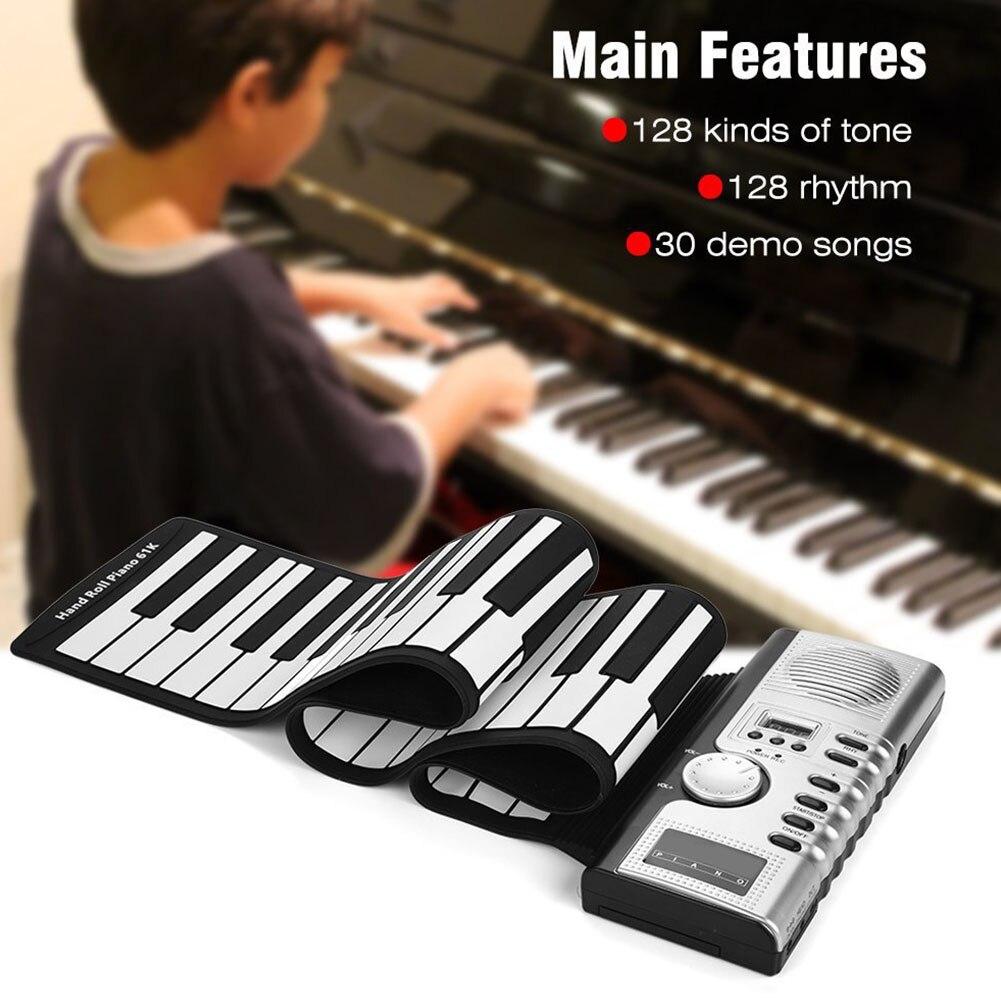 Jouets enroulable Piano USB MIDI clavier électronique Instrument de musique cadeau musique enfants 61 touches enregistrement