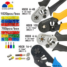 Crimping tools pliers electrical tubular terminals box mini clamp HSC8 10S 0.25-10mm2 23-7AWG 6-4B/6-6 0.25-6mm2 16-4 tools sets(China)