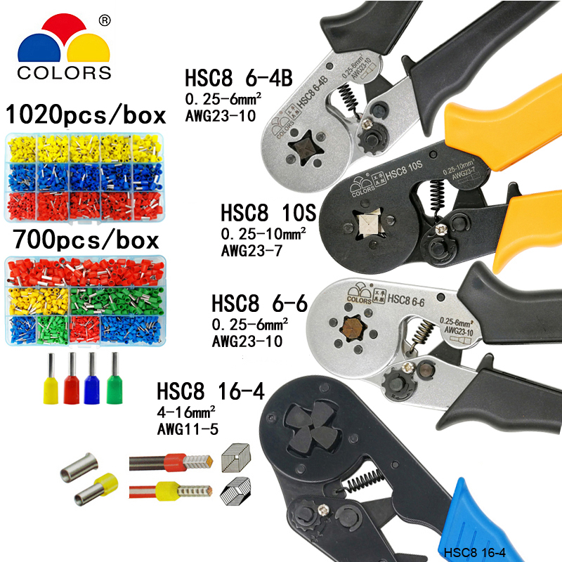 HSC8 10S 0.25-10mm2 23-7AWG HSC8 6-4B/6-6 0.25-6mm2 HSC8 16-4 crimping pliers electric tube terminals box mini brand clamp tools free shipping hsc8 6 4 6 4a 6 4b 6 6 6 6a 6 6b with 400pcs termina crimping pliers crimping tube terminals pliers crimping tools