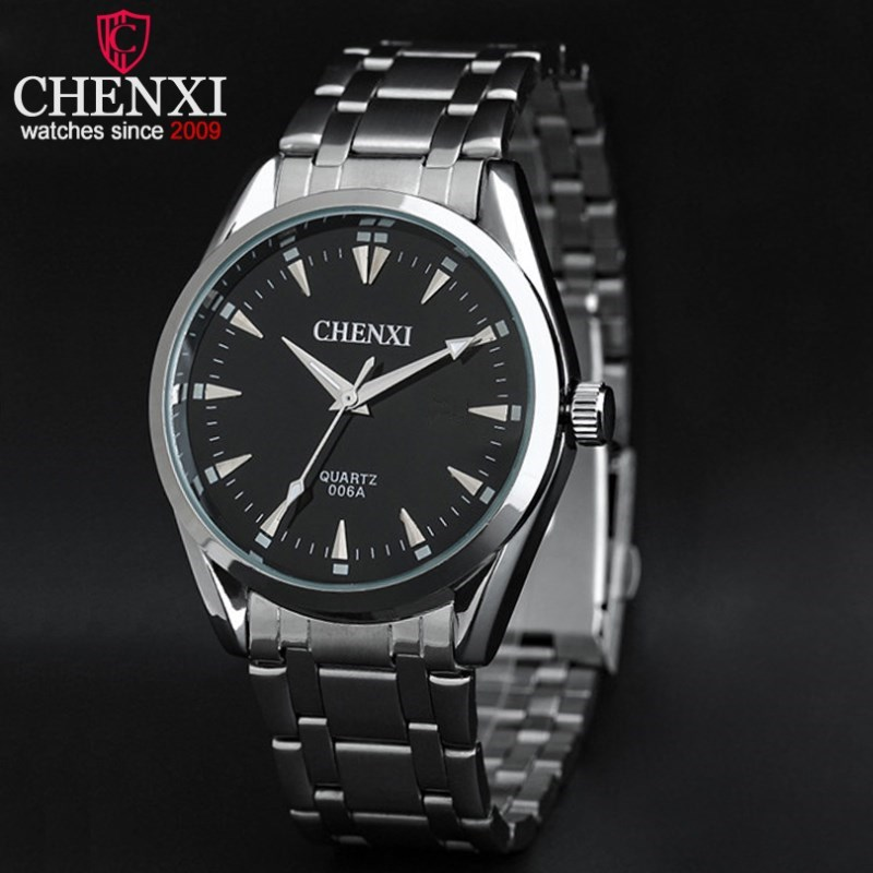CHENXI Mens Watches Top Brand Luxury Silver Case Stainless Steel Quartz Wristwatch Original Male Watch For Business PENGNATATE luxury top brand chenxi men dress watch stainless steel gold silver quartz wristwatch waterproof retro male business clock