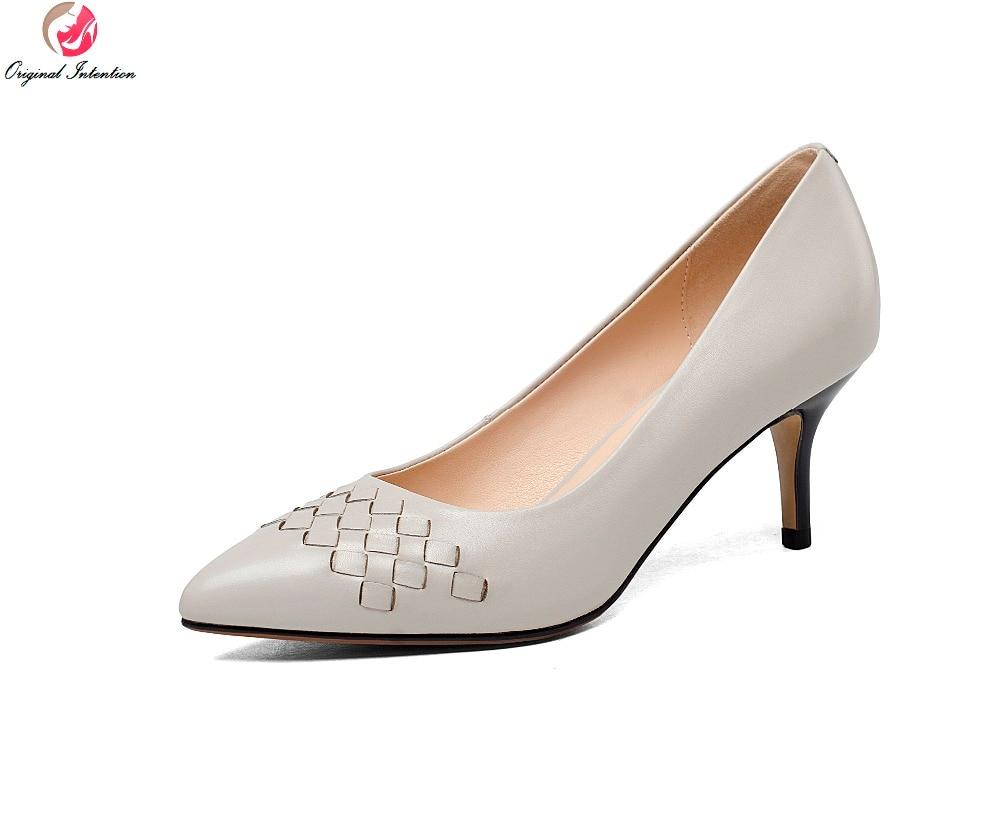 ФОТО Super Fashion Women Pumps Nice Genuine Leather Pointed Toe Thin Heels Pumps Black Blue Grey Gun Shoes Woman Plus US Size 3.5-10