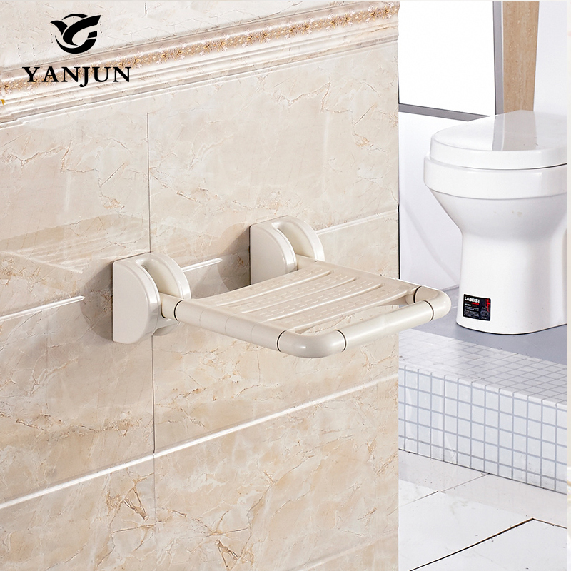 Yanjun Wall Mounted Bath Shower Seat With Legs Folds Away Spa Bench Public Arears Saving Space