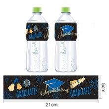 12pcs Graduation Party Decorations Bachelor Cap Diploma Mineral Water Bottle Label Grad Congrats Graduated Supplies