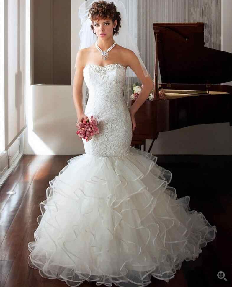 2016 מעצב חדש בת ים תחרה לבנה שמלת כלה פרעה סטרפלס מתוקה צוואר חתונת כותנות הנמכר ביותר