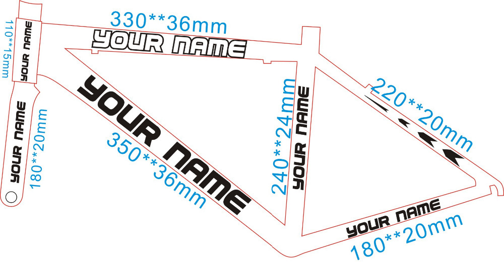 The bicycle frame sticker carved hollow frame stickers or decals name custom made personalized frame stickers in bicycle stickers from sports