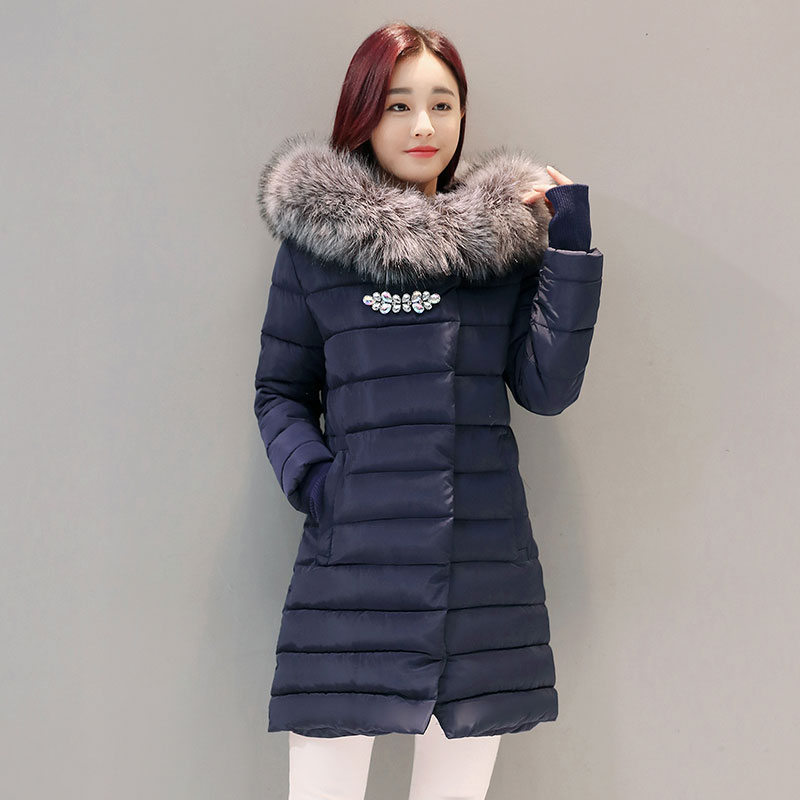 Solid Long Women Winter Jacket Padded Coat Hooded Fur Collar Overcoat Warm Women Parka Wadded Casaco Feminino Female Jacket 921 thick warm long winter jacket women parkas 2017 fur collar hooded cotton padded winter coat female casaco feminino invero