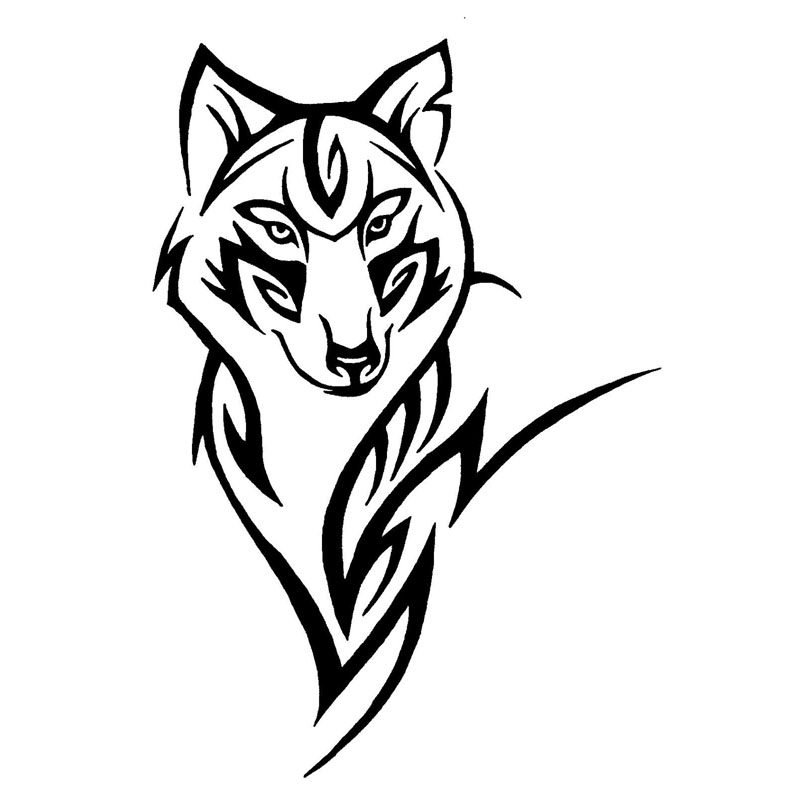13.2*19CM Silhouette Of The Wolf Crazy Animal Pattern Car Sticker Tribal Vinyl Car Body Decals Black/Silver S1-2304