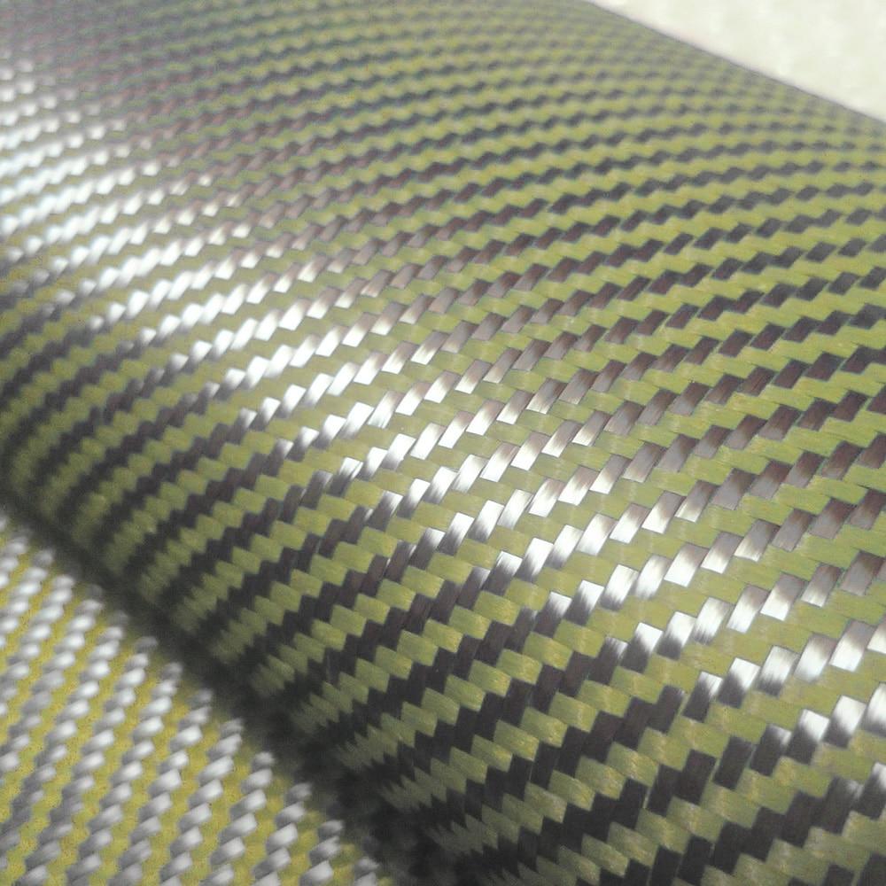 """200gsm 1100D Kevlar giallo e 3K Tessuto misto fibra di carbonio 2x2 Tessuto twill di carbonio Kevlar Fibra aramidica Larghezza 40 """"/ 100 cm"""