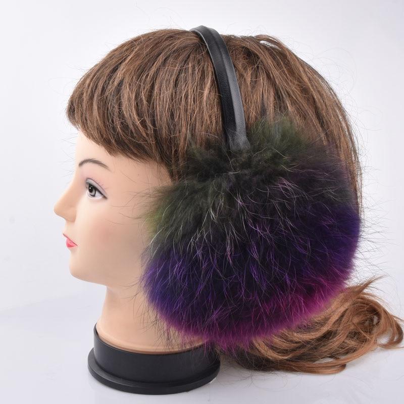 Winter & Spring & Autumn Women Warm Fur Earmuffs Girl's Earlap Ultralarge Real Fox Fur Hair Earflap Ladie's Plush Ear Muff