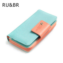 New Fashion Women Wallet Candy Colors Panelled Design Ladies Wallet High Korean Hasp Zipper Purse Clutch Coin Pocket Card Holder