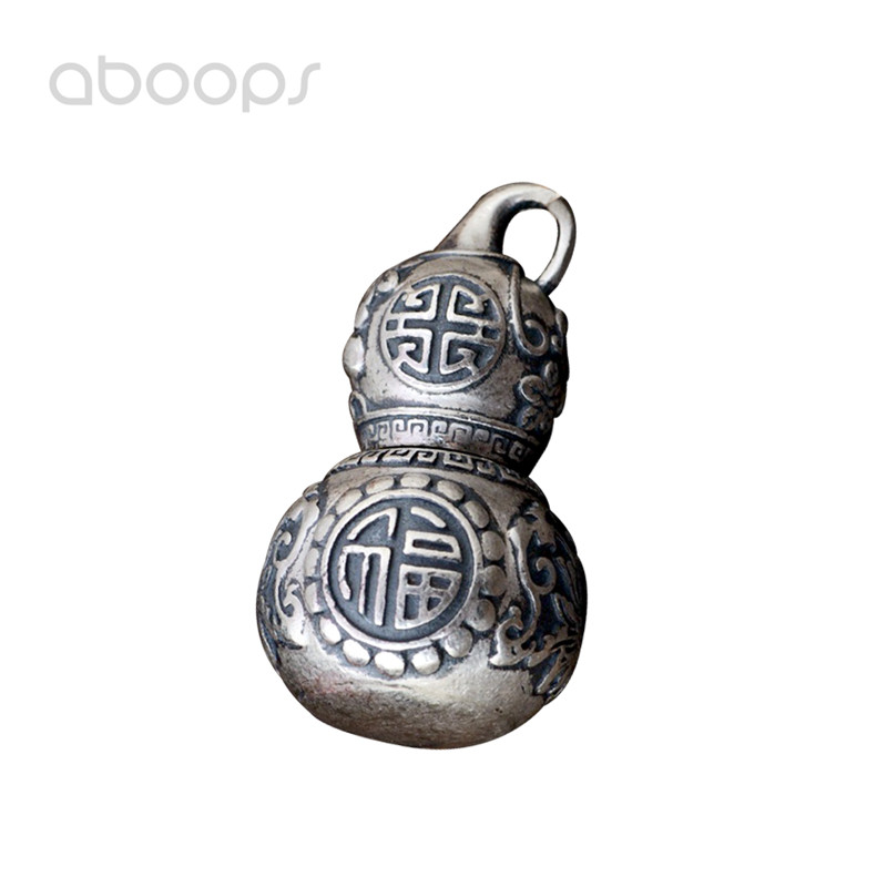 цена на Vintage Openable 990 Sterling Silver Hollow Gourd Shaped Necklace Pendant for Women Free Shipping