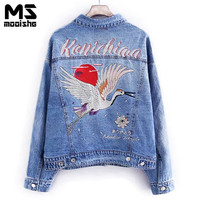 Mooishe Autumn Crane Embroidered Denim Jacket Coat Long Sleeve Light Blue Vintage Women Jeans Jacket With