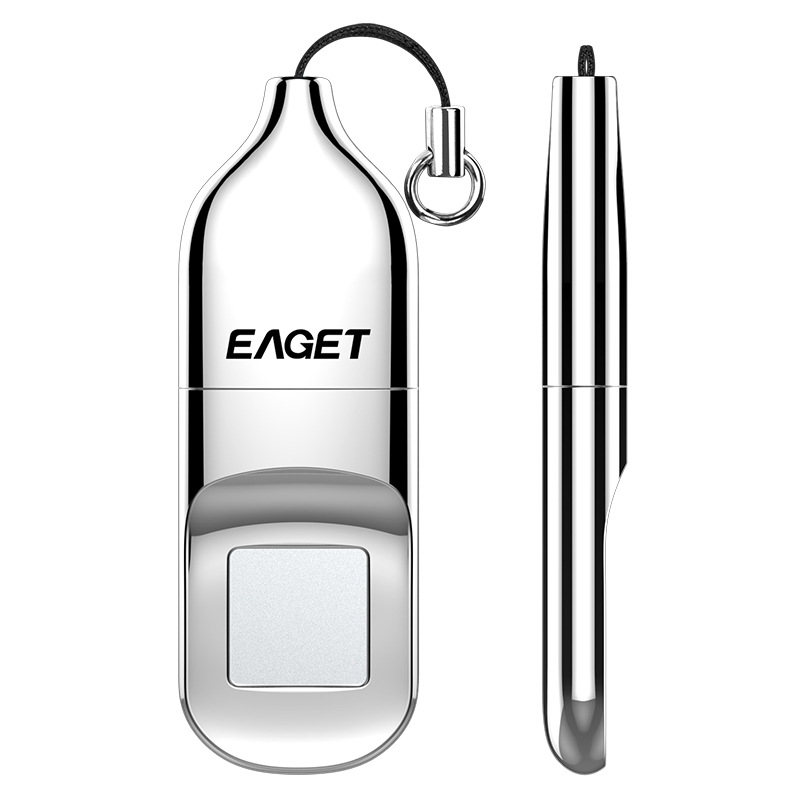 EAGET Fingerprint Encryption U Disk Business Office Metal Private USB3.0 Flash Drive - Platinum 1