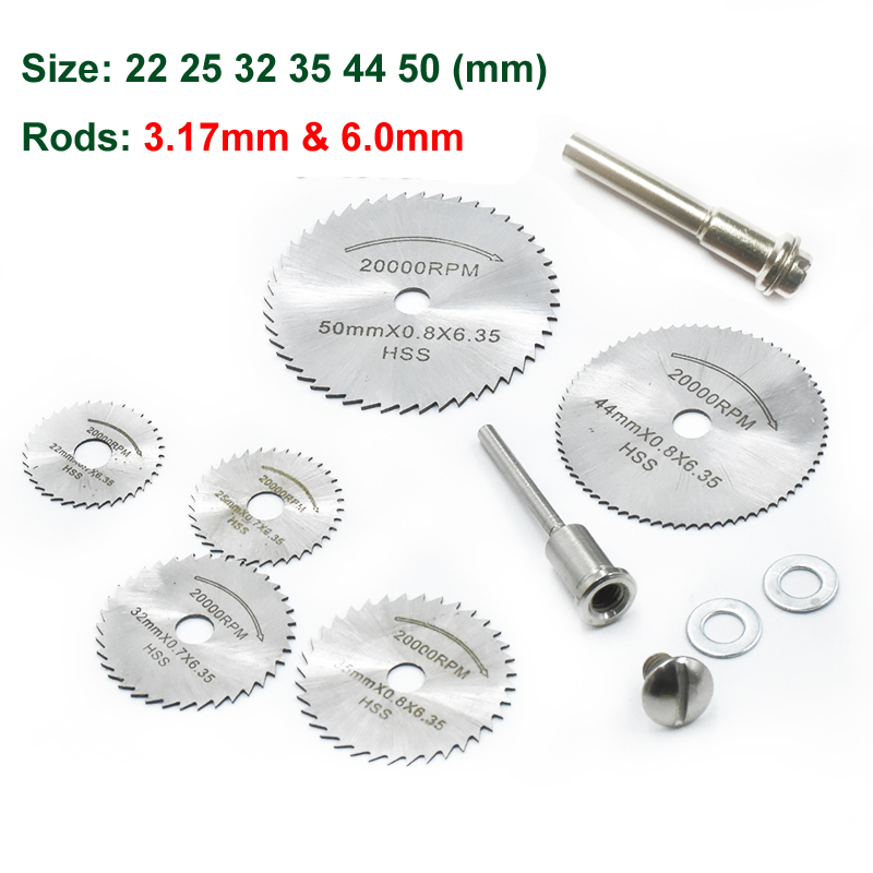 6 Size Mini HSS Rotary Tool Saw Blades For Metal Cutter Power Set Wood Cutting with 2 Rods (3.17mm and 6.0mm) 10pcs jig saw blades reciprocating saw multi cutting for wood metal reciprocating saw power tools accessories rct