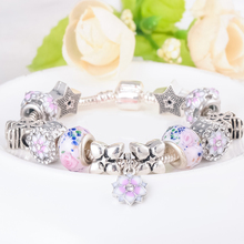 Women's Elegant Charm Bracelet with Floral and Snowflakes Themed Pattern