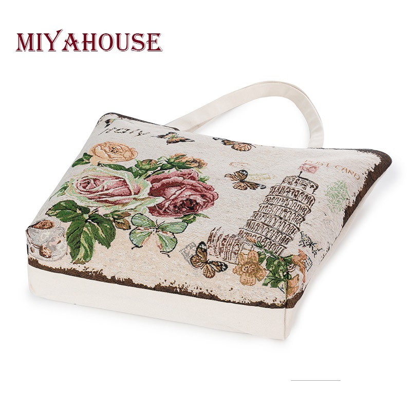 European Style Female Canvas Tote Floral And Tower Printing Handbags Women Canvas Beach Bag For Girls Embroidery Shoulder Bags 1