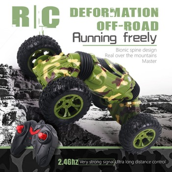 Pokich 2.4Ghz Stunt Car 4WD Rechargeable RC Car 1:16 Remote Control Car Toy Off Road Vehicle 10km/h Monster Rock Crawler