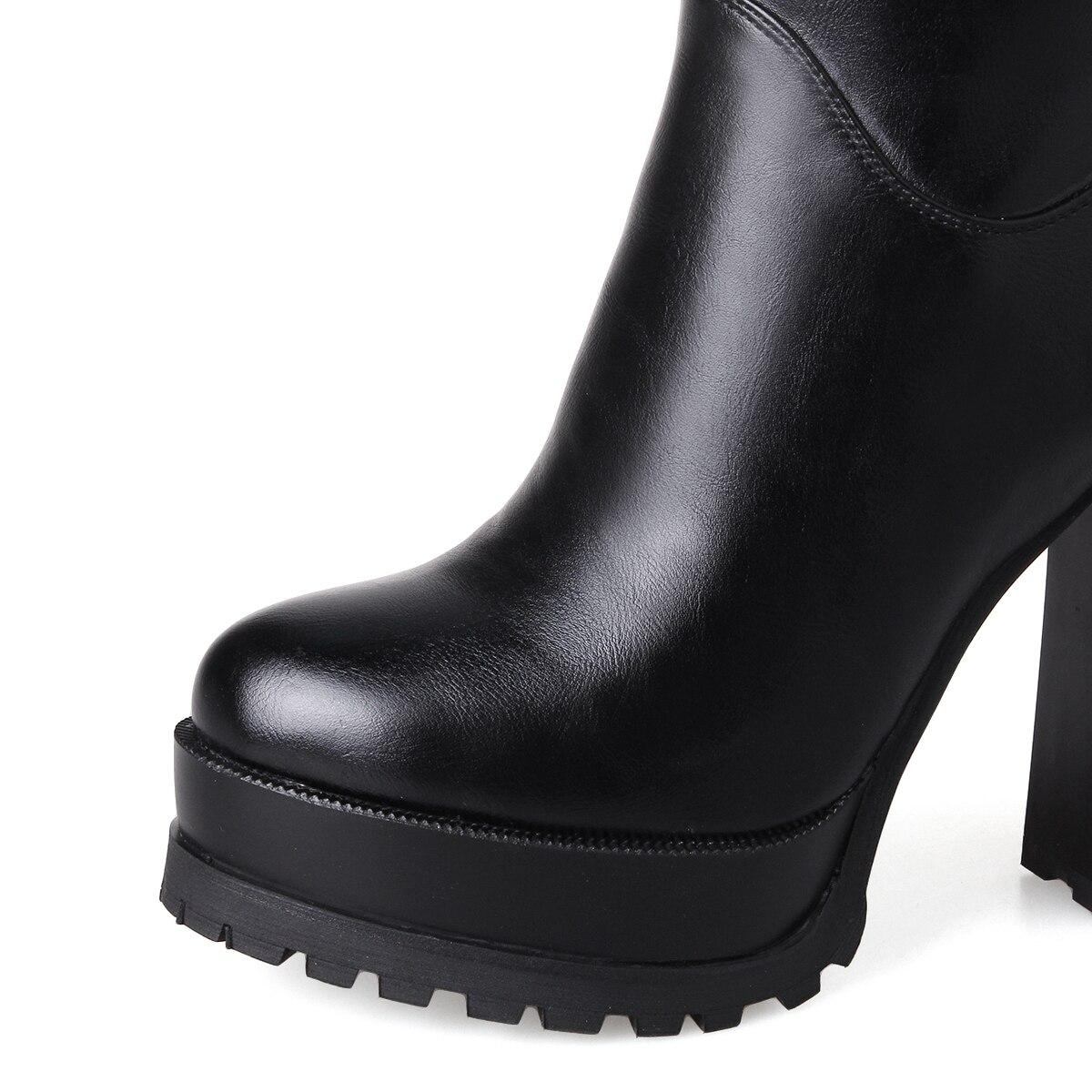 rouge Noir Cuir D'hiver Haute Qzyerai Bottes Chaussures Dames Femmes En Talons Genoux Verni F1nxpgqw4