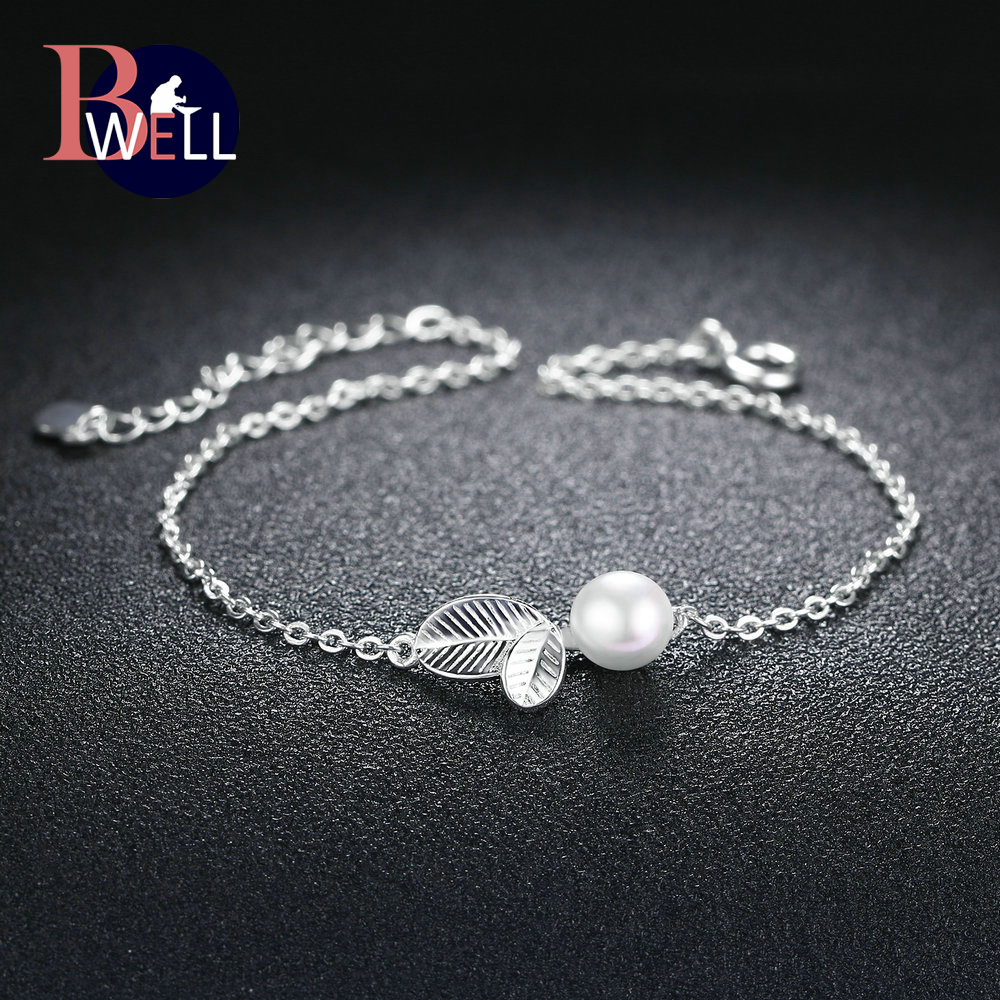 Bwell New 100% Real 925 Sterling Silver Leaves With Texture Pearl Charm Bracelet Fine Jewelry For Women Romantic Gift BWHY017