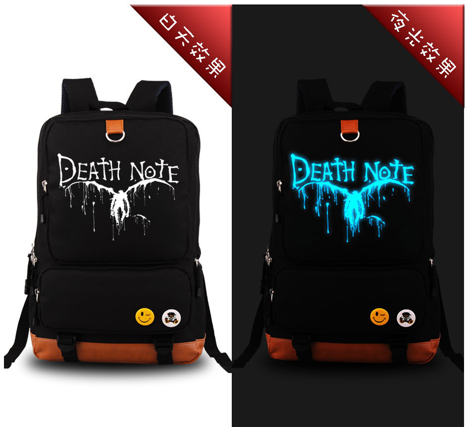 2017 Anime Cartoon Death Note LOGO Luminous Design travel men women canvas travel kids fashion school backpacks sosw fashion anime theme death note cosplay notebook new school large writing journal 20 5cm 14 5cm