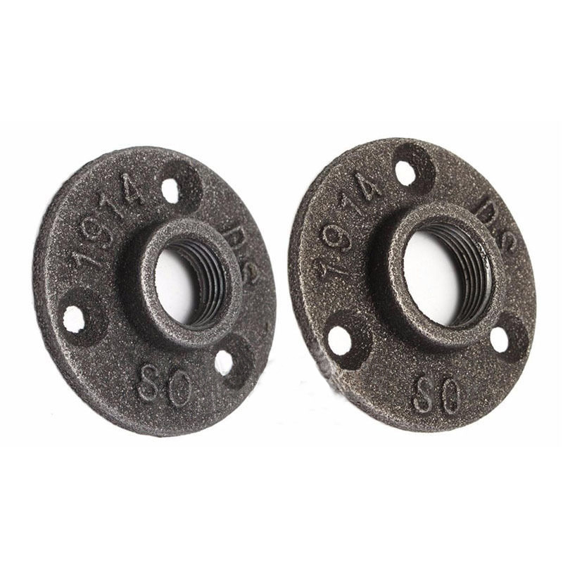 10Pcs 1/2 3/4 Exhaust Wall Mount Floor Flange Piece Cast Iron Flanges Thread BSP Malleable Iron Industrial Pipe Fittings