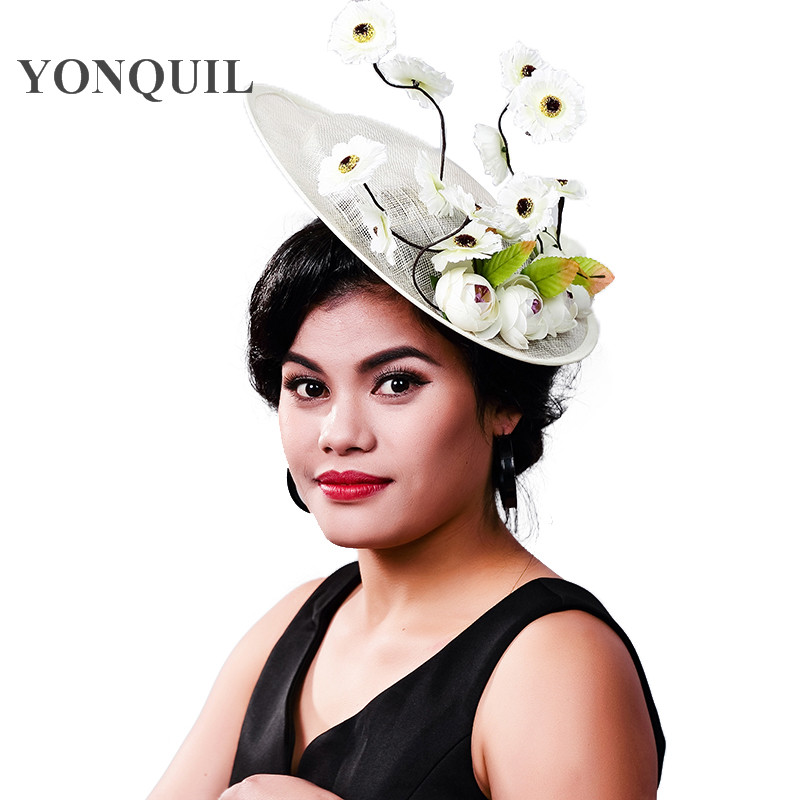 Women Fancy Feather Big Size Beauty Fascinator Headwear Wedding Hats And Fascinators White Net Hair Accessories For Bridal Gril