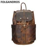 FOLGANDROS Men's Handmade Backpack Genuine Leather Drawstring Bucket Backpack Designer Vintage Double Shoulder Bag Male Daypack