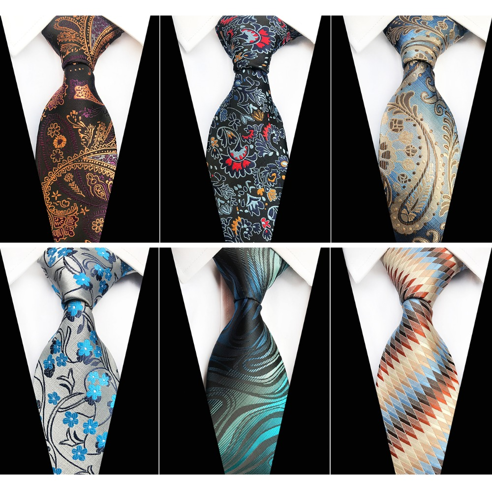 RBOCOTT Mens Floral Ties Paisley Plaid Necktie Striped Neck Ties For Men 8cm Fashion Gold Red Blue Brown Black Tie For Wedding