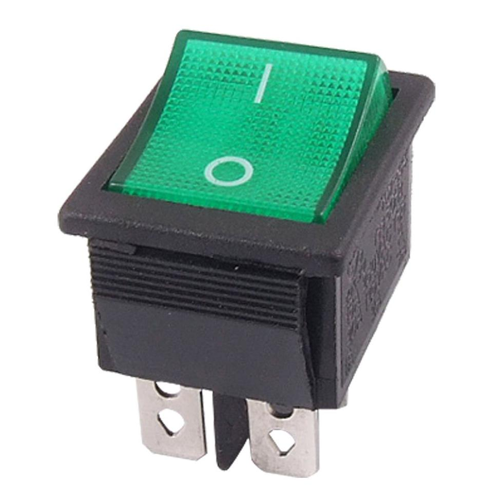 цены 5 pcs Promotion ! Green Light 4 Pin DPST ON/OFF Snap in Boat Rocker Switch 16A/250V 15A/125V AC